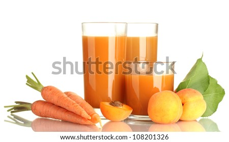 glasses of carrot and  apricot juice isolated on white