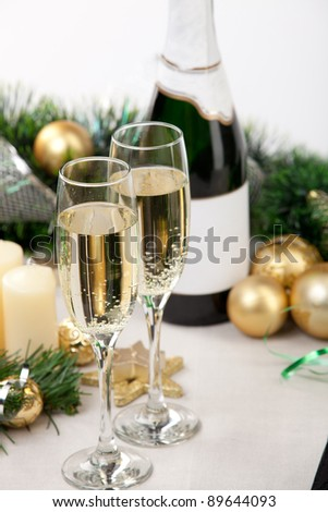 Glasses of champagne at New Year\'s Eve