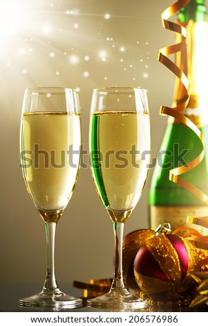 Glasses of champagne. background of lights #206576986