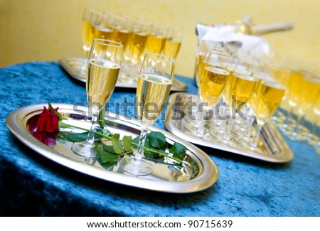 stock photo Glasses of champagne for a wedding reception