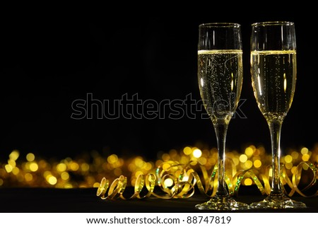 Glasses of champagne in holiday setting #88747819