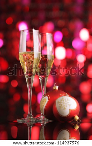 Glasses of champagne with Christmas decorations