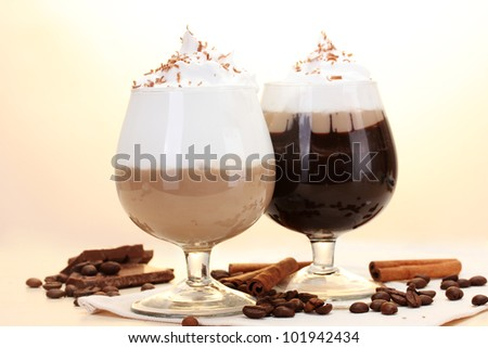 glasses of coffee cocktail on wooden table