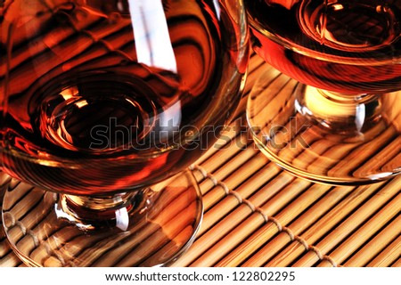 Glasses of cognac on the table