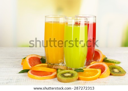 Shutterstock Glasses of different juice with fruits and mint on bright background