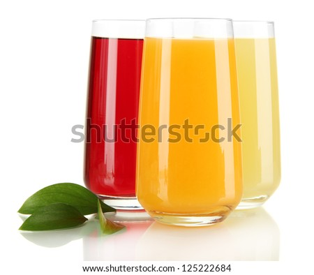 Glasses of juise and leafs isolated on white