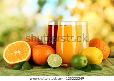 Shutterstock Glasses of juise with leafs and fruits on table on bright background