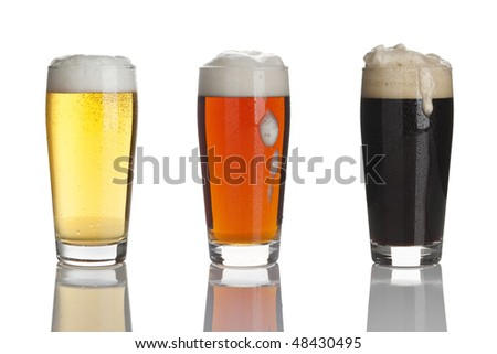 glasses of lager beer, ale and stout
