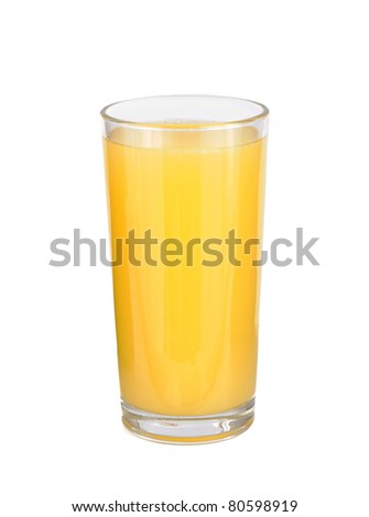 glasses of orange fruit juice on white background
