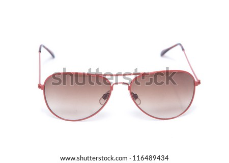 glasses of red color on a white background