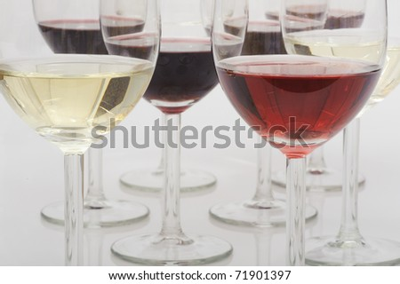 Glasses of red, rose and white wine.