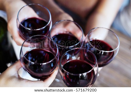 Glasses of red wine. Top view. The concept of party and celebration