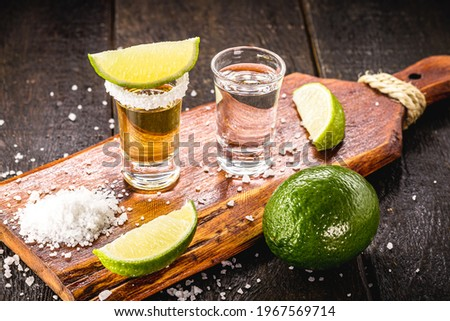 glasses of tequila, gold tequila and silver tequila, typical mexican drink Foto stock ©