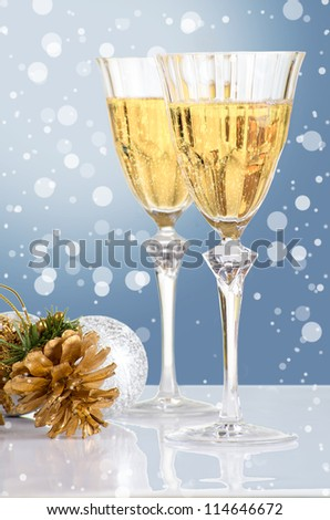 Glasses of vine. New Year party (Christmas greeting card)