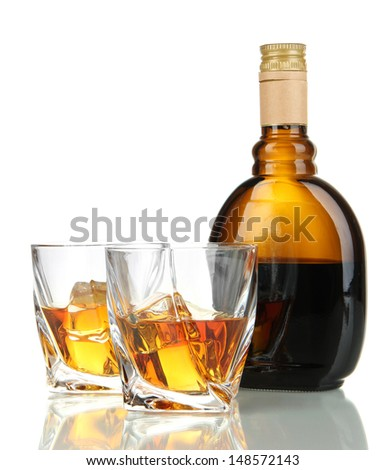 Glasses of whiskey with bottle, isolated on white #148572143