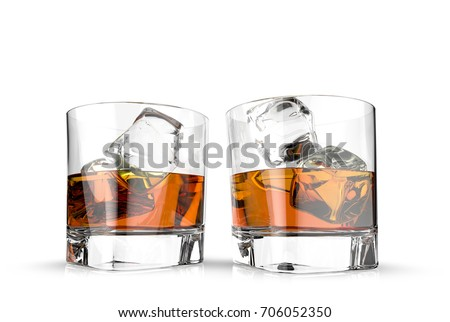 Glasses of whiskey with ice cubes on a metal table. 3d illustration,