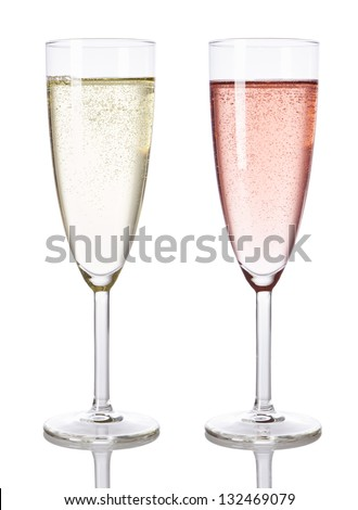 Glasses of white and rose champagne isolated