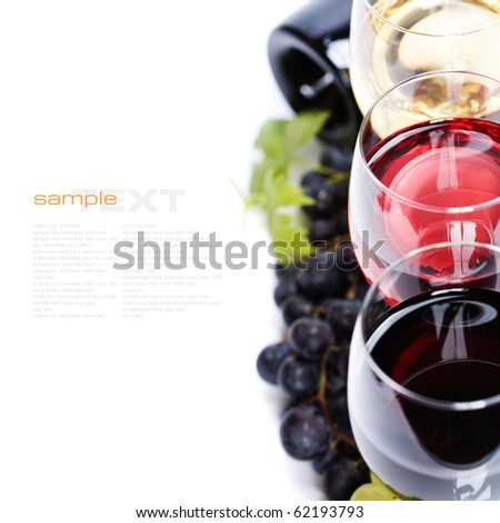 Glasses of white and rose wine and grapes over white (with sample text)