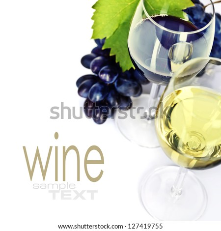 Glasses of white, red and rose wine and grapes over white  (easy removable sample text)