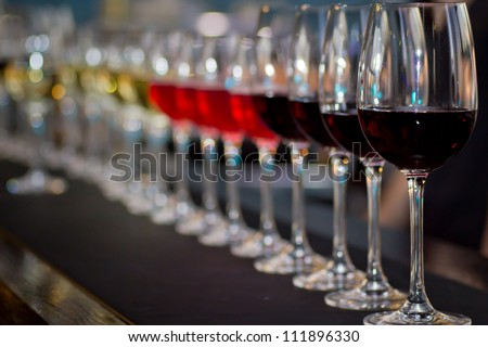 glasses of wine at the bar