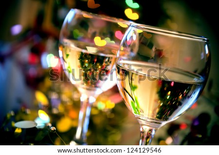 Glasses of wine on Valentine's Day