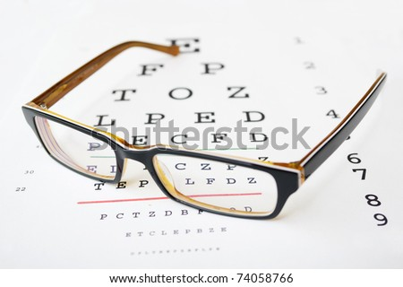 Glasses on a eye sight test chart.