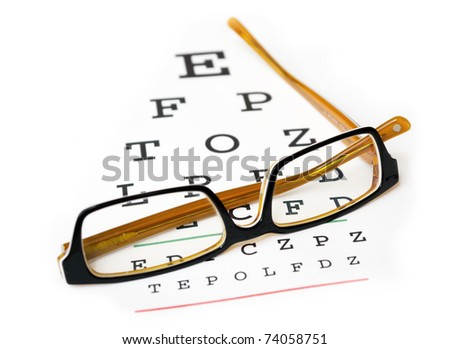 Glasses on a eye sight test chart. Isolated on white background.