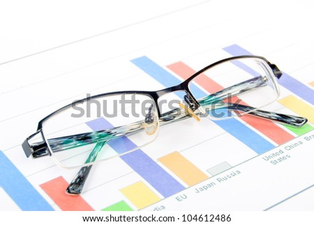 Glasses on financial graph
