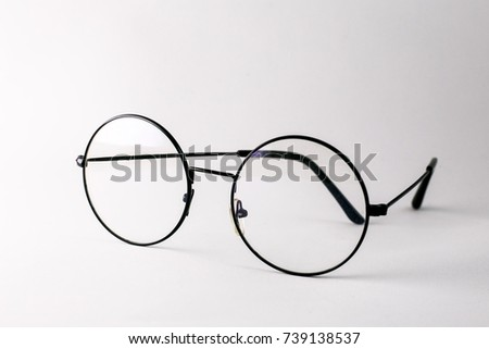 28cd61aa1908 Glasses round lenses isolated on white background. isolate eye glasses on white  background
