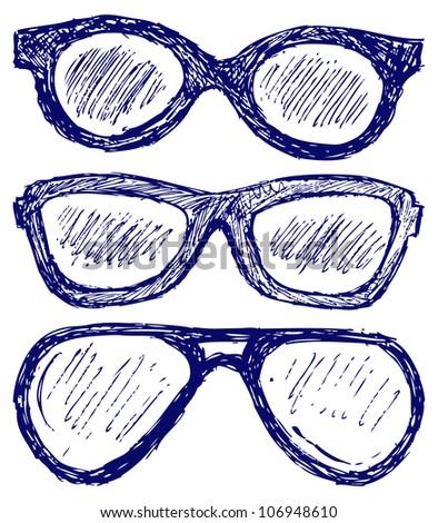 Glasses silhouettes. Raster