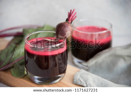 glasses with beet juice fresh. detox and diet