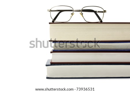 glasses with books isolated on the white