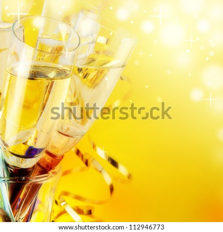 Glasses with champagne, a New Year's background