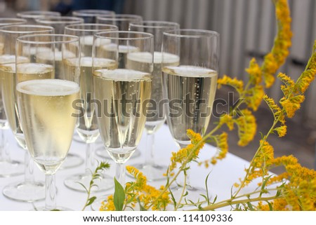 Glasses with champagne on wedding greeting