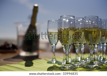 Glasses with champagne. Shallow depth of field.