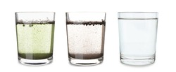 Glasses with clean and dirty water on white background