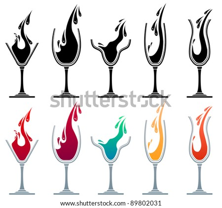 Glasses with different drinks. Colour and monochrome versions.Raster version.