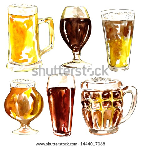 Glasses with diffrent kind of beer, drawn with watercolors