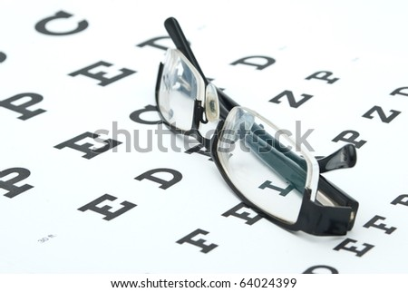 Glasses with eye chart isolated on white