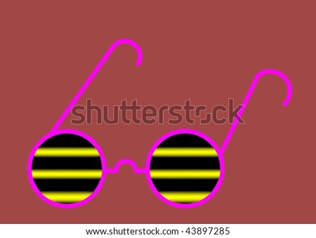 GLASSES WITH HORIZONTAL LINES IN BROWN BOTTOM