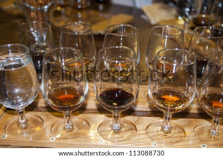 glasses with red and white wine varieties