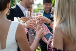 Glasses with sparkling wine, wedding