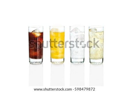Glasses with sweet drinks with ice cubes isolated on white #598479872