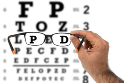 Glasses with vision test chart during eye examination