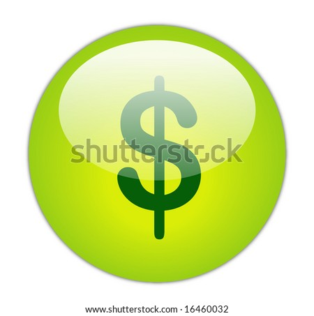 Glassy Green Dollar Icon Button