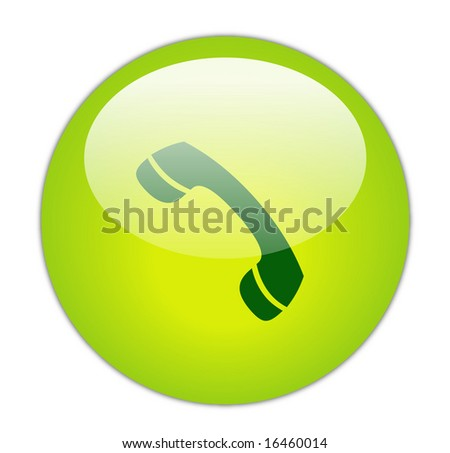 Glassy Green phone receiver Icon Button