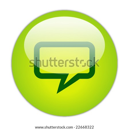 Glassy Green Rectangular Chat Icon Button Stock Photo ...