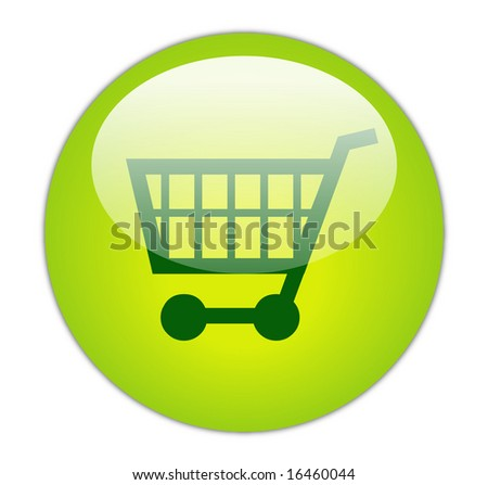 Glassy Green Shopping Cart Icon Button