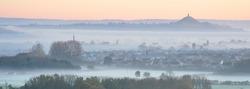 Glastonbury Tor & Moor Fog Panorama - Ivythorn Hill, Street, Somerset