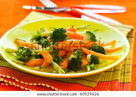 glazed  carrots with broccoli and parsley